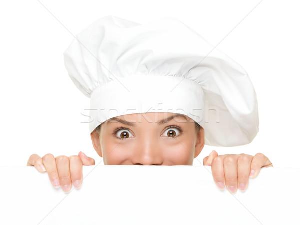 Stock fotó: Szakács · felirat · nő · szakács · pék · néz