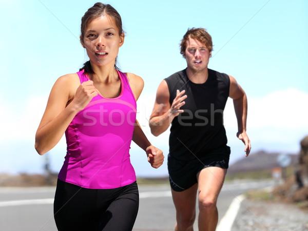 Runners - couple running Stock photo © Maridav