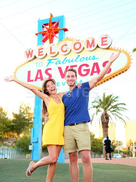 Las Vegas teken paar springen welkom Stockfoto © Maridav