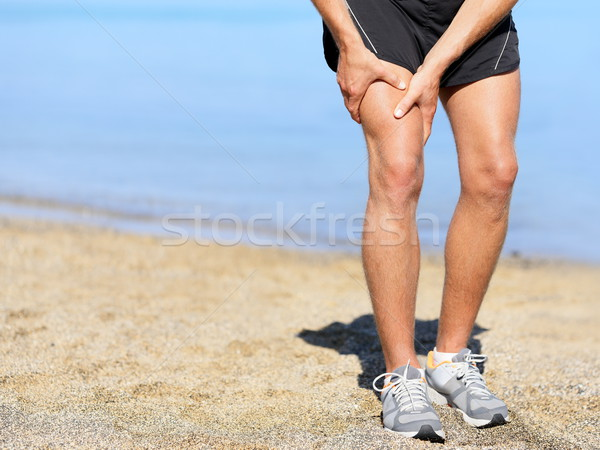 Muscle blessure coureur homme entorse cuisse Photo stock © Maridav