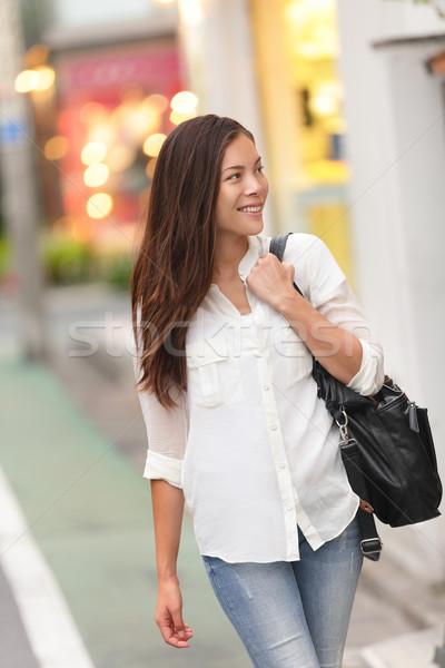 Compras mulher caminhada rua Tóquio japonês Foto stock © Maridav