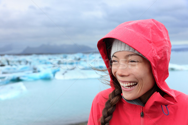 Stock photo: Outdoors Woman in hardshell jacket on Iceland