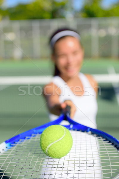 Tennis - woman player showing ball and racket Stock photo © Maridav