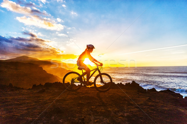 Mountain Biking Cyclist Woman Bike Trail Cycling Stock photo © Maridav