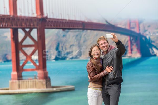 Gelukkig toeristen San Francisco Golden Gate Bridge Stockfoto © Maridav