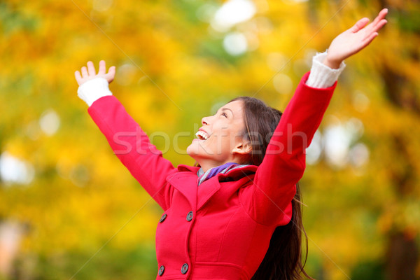 Autumn / fall woman happy in free freedom pose Stock photo © Maridav