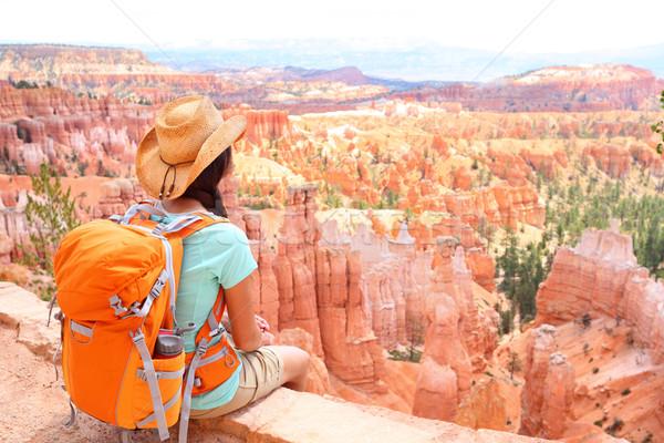Hiker woman in Bryce Canyon hiking Stock photo © Maridav