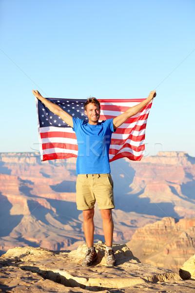 Americano USA bandiera turistica Grand Canyon felice Foto d'archivio © Maridav