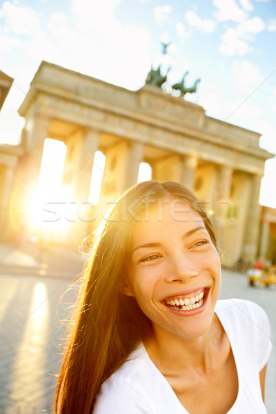 Happy laughing woman at Brandenburg Gate, Berlin Stock photo © Maridav