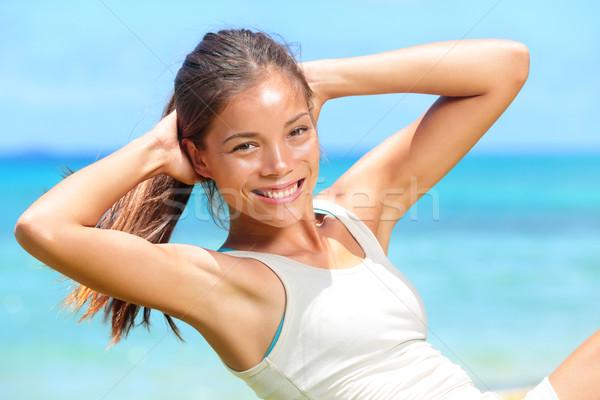 Stockfoto: Fitness · vrouw · zitten · buiten · crossfit · oefening