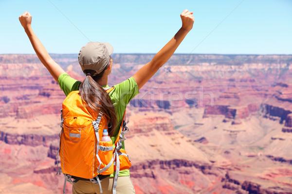 Foto stock: Sucesso · vencedor · pessoa · feliz · andarilho · Grand · Canyon