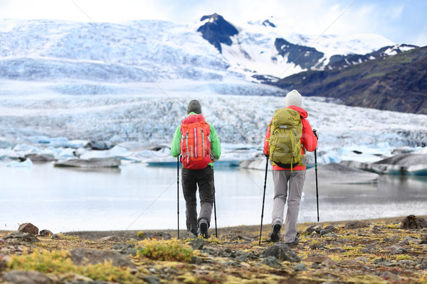 Hikers - people on adventure travel on Iceland Stock photo © Maridav