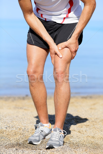 Muscle blessure homme coureur entorse cuisse Photo stock © Maridav