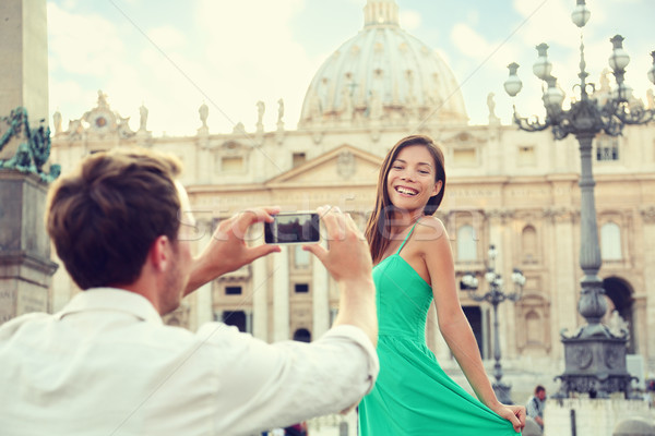 Couple taking smartphone picture at Vatican, Italy Stock photo © Maridav