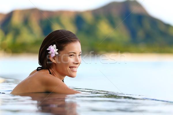 úszómedence nő tengerpart utazás ünnepek gyönyörű Stock fotó © Maridav
