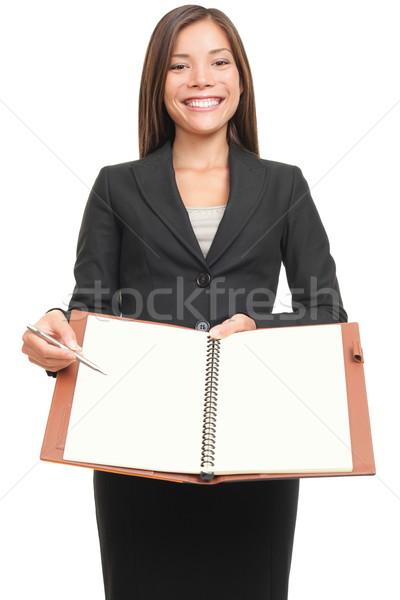 Stock fotó: üzletasszony · mutat · notebook · copy · space · üzletasszony · ír