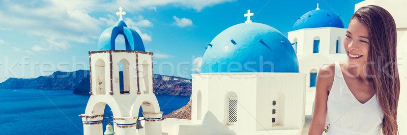 Stock fotó: Európa · turista · utazás · nő · szalag · Santorini