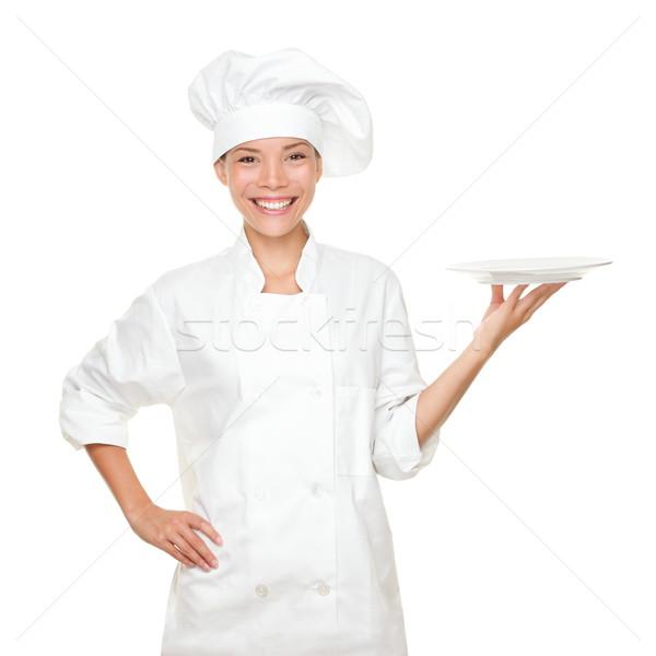 Szakács mutat üres tányér boldog portré Stock fotó © Maridav