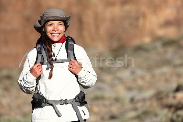 Hiking - woman hiker Stock photo © Maridav