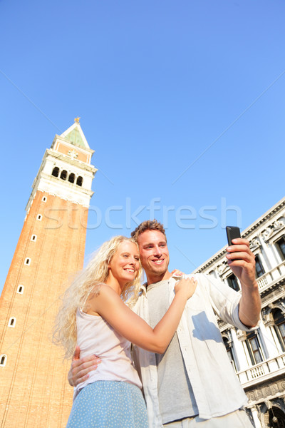 Stock photo: Couple taking selfie picture on travel in Venice