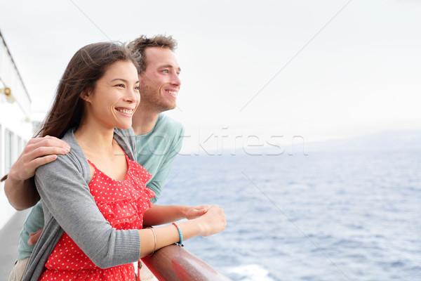 Romântico feliz casal navio de cruzeiro barco Foto stock © Maridav