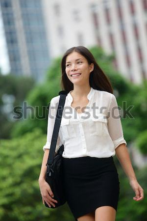 Business woman with computer laptop in Hong Kong Stock photo © Maridav