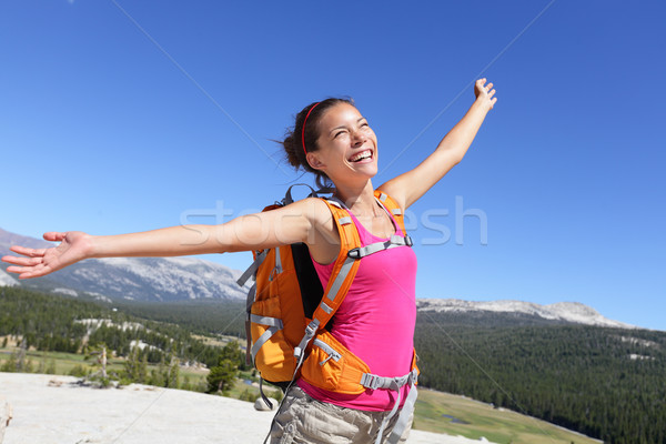 幸せ ハイカー 少女 ハイキング 気楽な 自然 ストックフォト © Maridav
