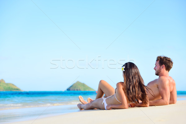 Beach sun tan couple on holiday in Hawaii Stock photo © Maridav