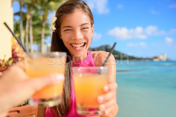 Beach bar party drinking friends toasting cocktail Stock photo © Maridav