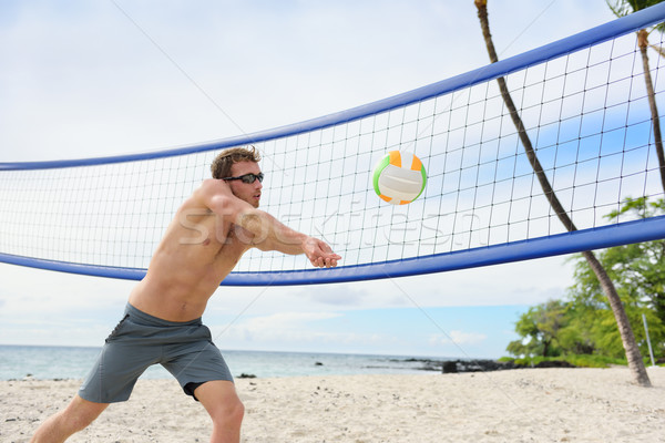 Beach volleyball man playing forearm pass Stock photo © Maridav