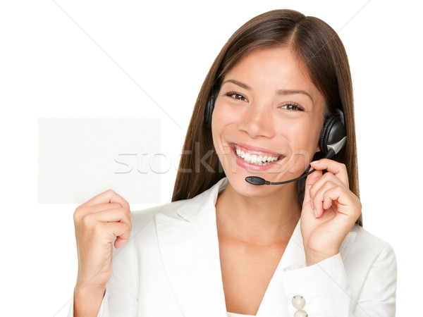Call center headset woman sign Stock photo © Maridav
