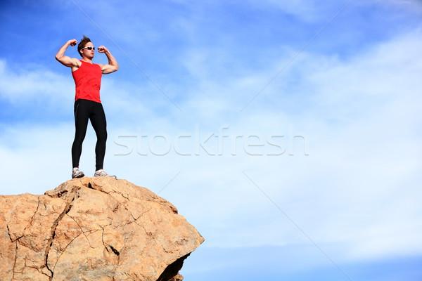 Siker nyertes férfi hegy felső ünnepel Stock fotó © Maridav