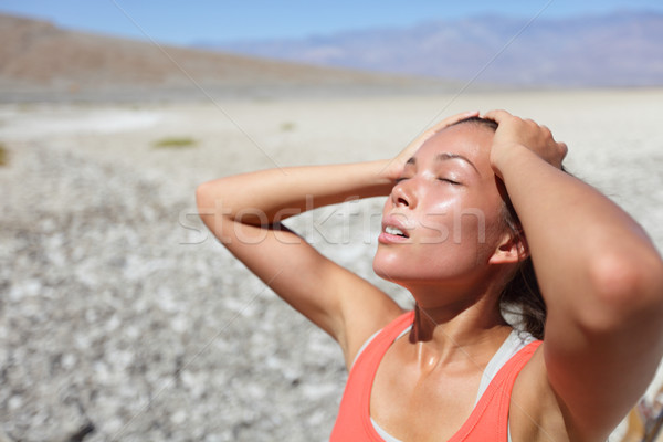 Desert woman thirsty dehydrated in Death Valley Stock photo © Maridav
