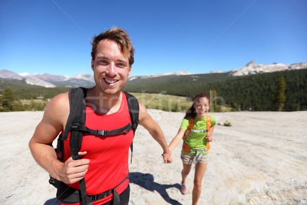 Hiking couple having fun outdoors in Yosemite, USA Stock photo © Maridav