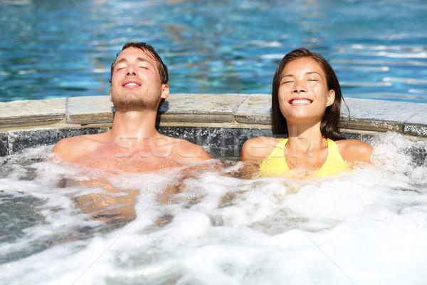Spa Pareja relajante jacuzzi bañera de hidromasaje Foto stock © Maridav