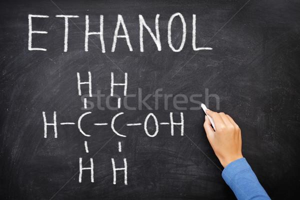 Etanol alkohol vegyi struktúra iskolatábla tudomány Stock fotó © Maridav