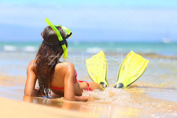 Relaxing woman on summer beach vacation holidays Stock photo © Maridav