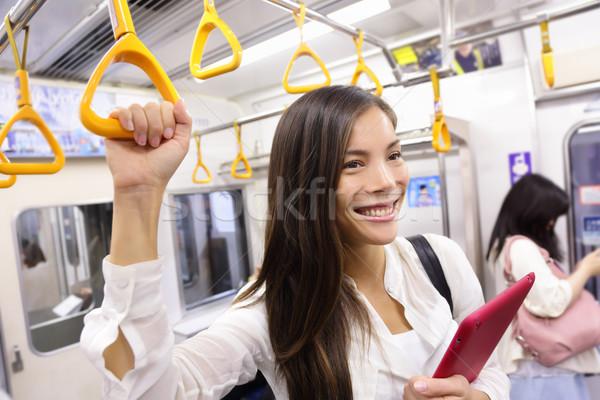 Subway commuter woman on tokyo public transport Stock photo © Maridav