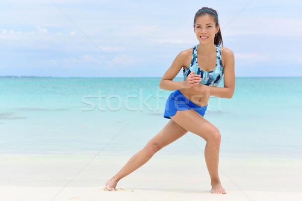Kobieta fitness trening siłowy nogi strona nogi asian Zdjęcia stock © Maridav