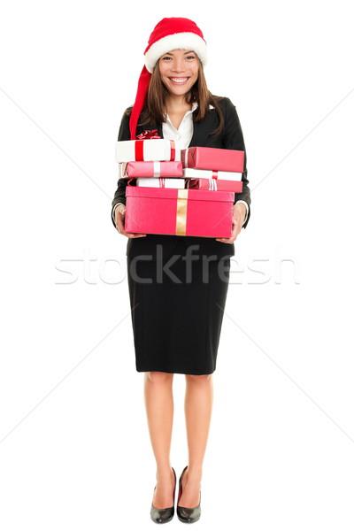 Foto stock: Natal · mulher · de · negócios · seis · presentes · em · pé