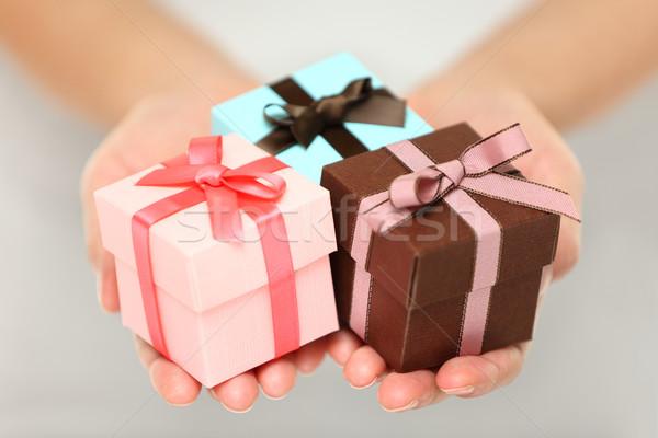 Nő tart karácsony ajándékok kilátás kép Stock fotó © Maridav