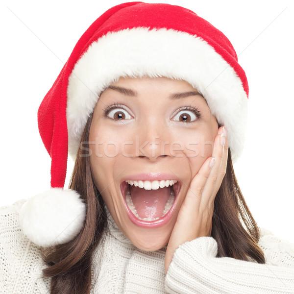 Stock photo: Christmas santa woman surprised