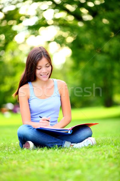 Diák lány tanul park boldog fiatal Stock fotó © Maridav
