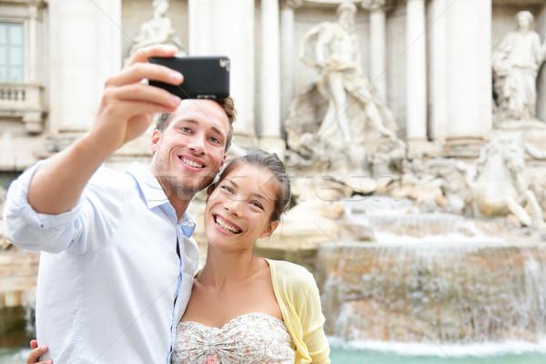 Stock fotó: Turista · pár · utazás · Róma · Trevi-kút · elvesz