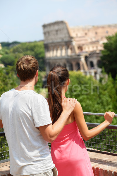 Romantic couple tourists by Colosseum, Rome, Italy Stock photo © Maridav