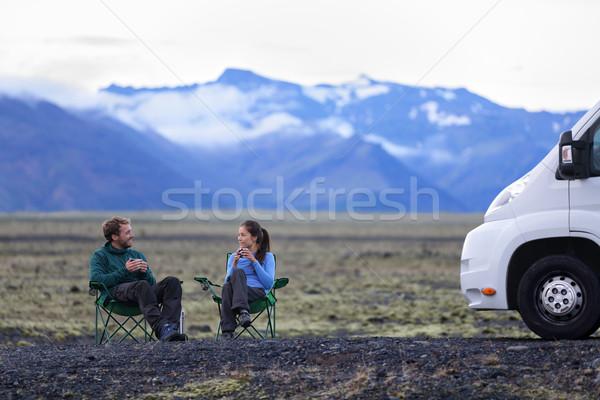 Utazás pár mobil motor otthon emberek Stock fotó © Maridav