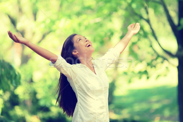 Freedom happy woman feeling free in nature air Stock photo © Maridav