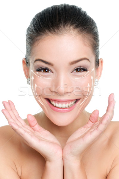 Face lift anti-aging treatment - Asian woman Stock photo © Maridav