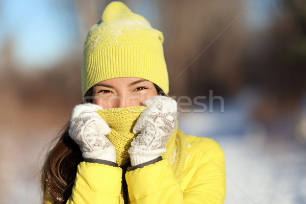 Winter freezing woman covering face from cold Stock photo © Maridav