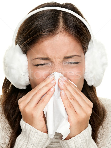 Stock photo: Flu or cold sneezing woman